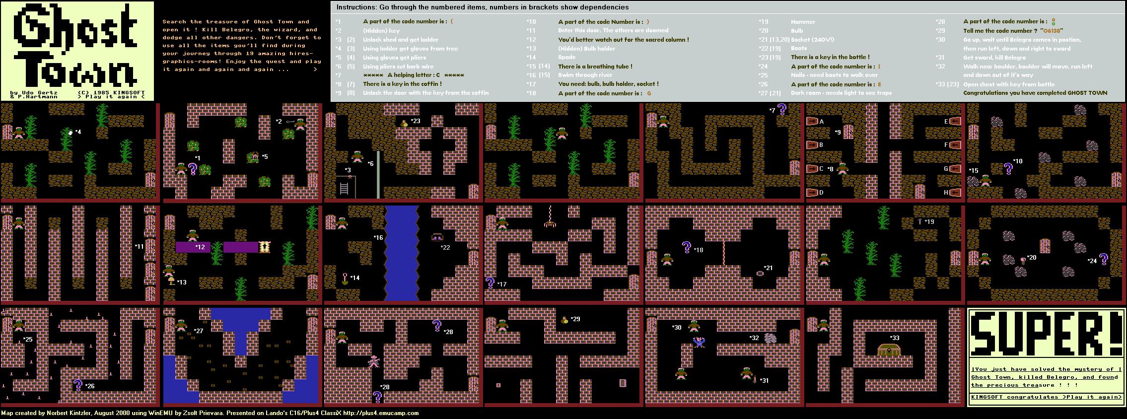 Alle Räume von Ghost Town inklusive der Lösungshinweise. (Bild: Norbert Kintzler)