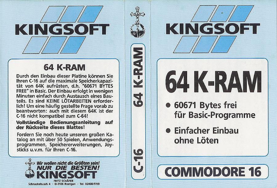Eine von Kingsoft vertriebene Erweiterungsplatine, die den Commodore 16 auf 64 KB RAM aufrüstet. (Bild: Kingsoft)