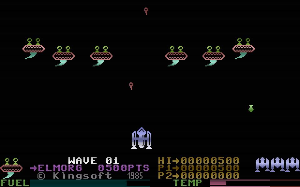 Der Weltraum-Shooter Galaxy war ein weiterer Arcade-Hit auf dem C16 und dem Plus/4. (Bild: Kingsoft)