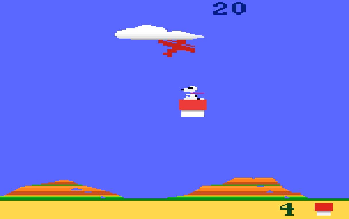 Traumwetter: Snoopy im Einsatz gegen den Roten Baron. Als Bonus-Items kommen später Eis oder Malzbier zum Einsatz. (Bild: Atari)