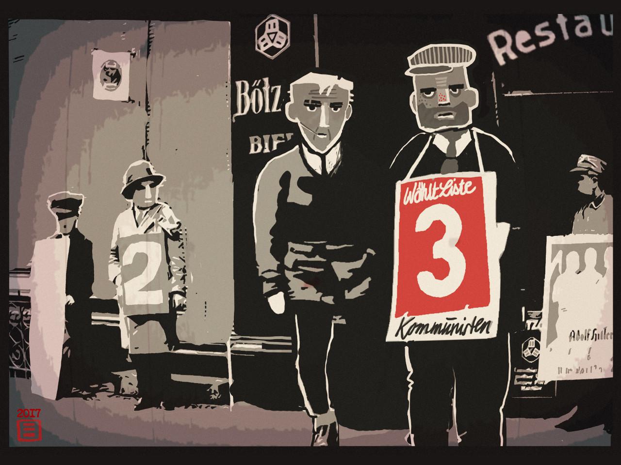 """Concept art (""""Wahlkampf"""") für Through the Darkest of Times. (Bild: Through the Darkest of Times)"""