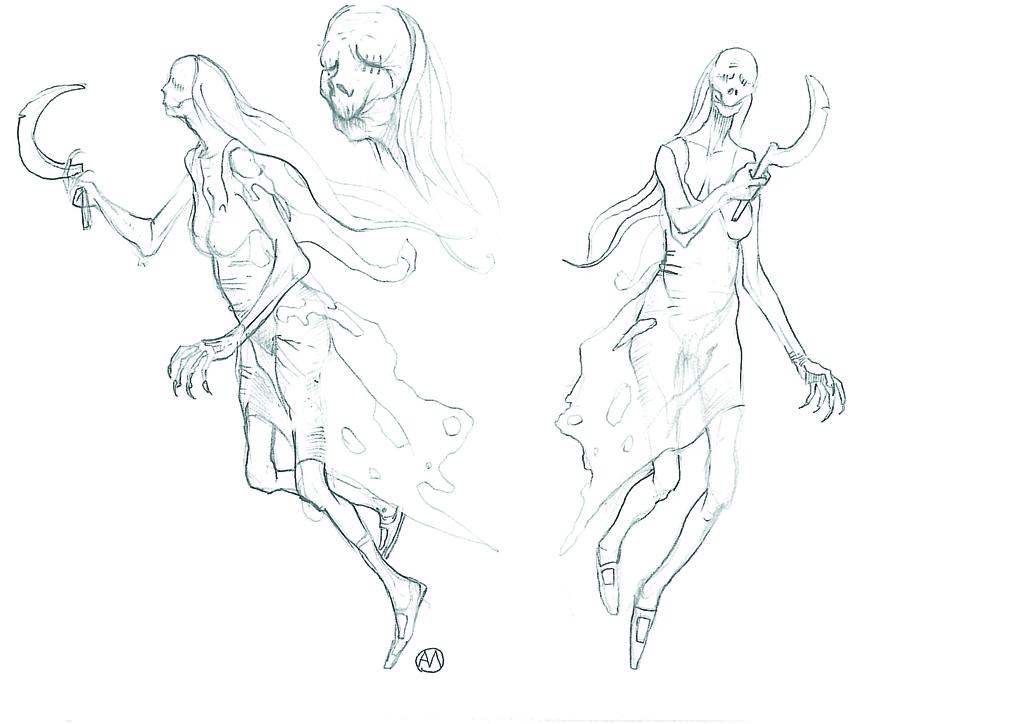 Konzeptzeichnung der Mittagserscheinung aus The Witcher 1. (Bild: http://hexer.wikia.com/wiki/Datei:Nightwraith.jpg)
