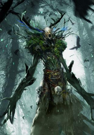 Ein Waldschrat. (Bild: http://witcher.wikia.com/wiki/File:Tw3_cardart_monsters_leshen.png)