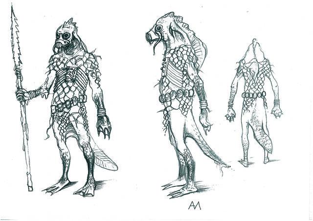 Konzeptzeichnung des Wodjanoi (Bild: http://hexer.wikia.com/wiki/Datei:Vodyan_Warrior.jpg)