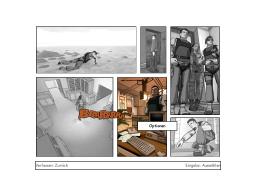Die Inszenierung der Story bezieht sich stilistisch auf den Comic und ordnet Bilder in Panels an, inklusive weißem Seiten-Gutter. (Bild: André Eymann)