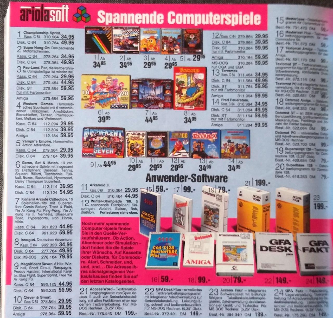 Werbung für Ariola-Spiele in einem OTTO-Katalog der 80er Jahre. (Bild: Christian Klein, www.thelegacy.de)