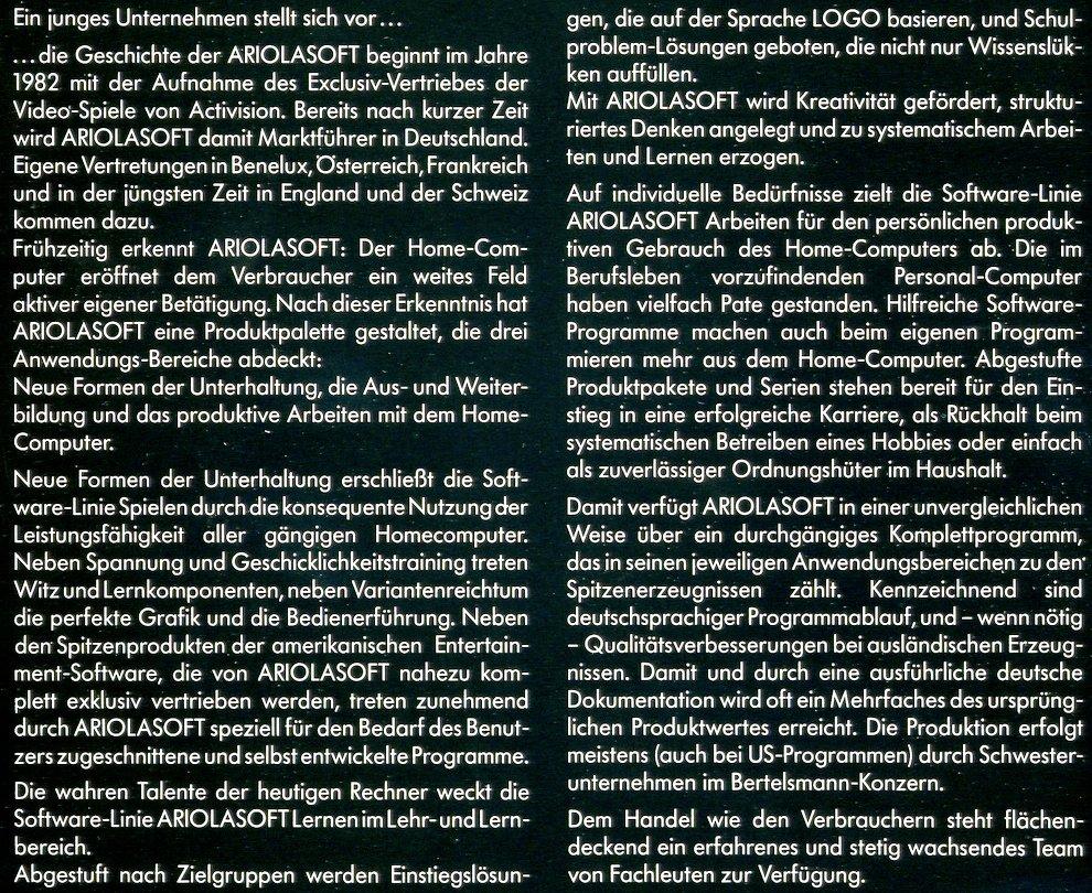 Die Ariolasoft stellt sich vor. Die Geschichte des jungen Unternehmens beginnt 1982. (Bild: Markt & Technik Verlag)