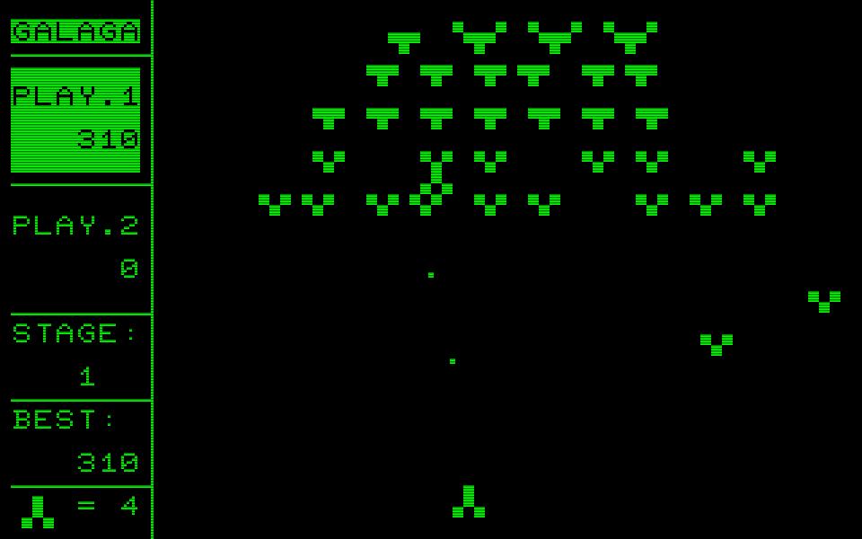 Galaga aus dem Jahr 1982 für den PET/CBM wurde in Assembler geschrieben und bot eine Bildschirmauflösung von 80 x 50 Zeichen. (Bild: Henrik Wening)