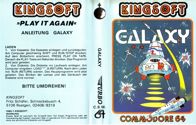 Die Original-Kassettenverpackung zu Galaxy. Das Spiel wurde 1984 für den C64 von Kingsoft vertrieben. (Bild: Kingsoft)