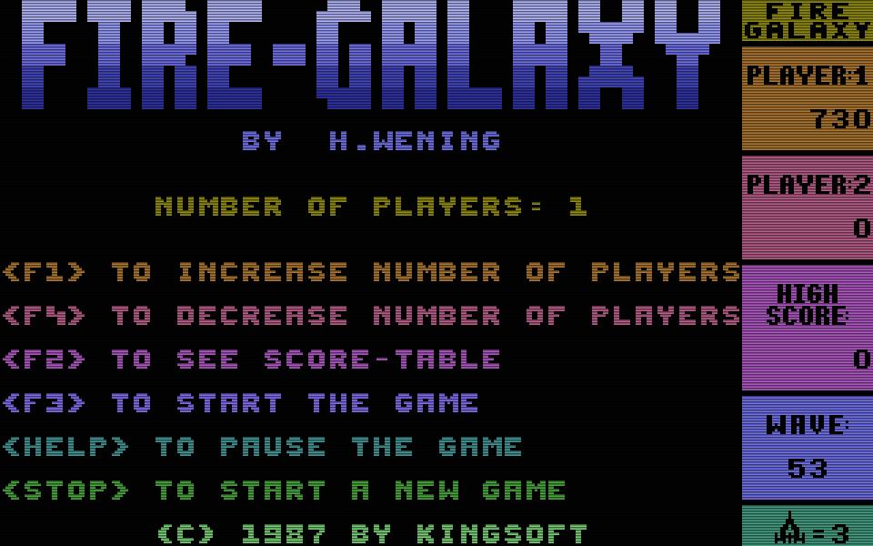 Die Galaga-Version für den C16 mit dem Namen Fire-Galaxy von 1987 war eine völlige Neuerfindung von Henrik und hatte nur das grobe Spielprinzip. (Raumschiff unten bewegt sich rechts/links) vom Vorbild übernommen (Bild: Kingsoft)
