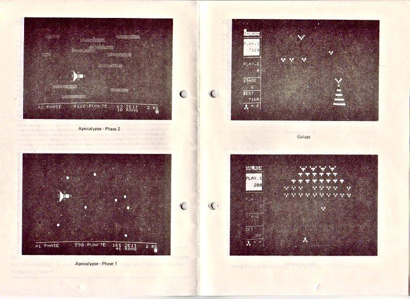 Abbildungen aus dem Omikron-Katalog von 1982. Hier kann man gut erkennen, dass die Spiele damals noch zeichenorientiert dargestellt wurden. (Bild: Omikron)