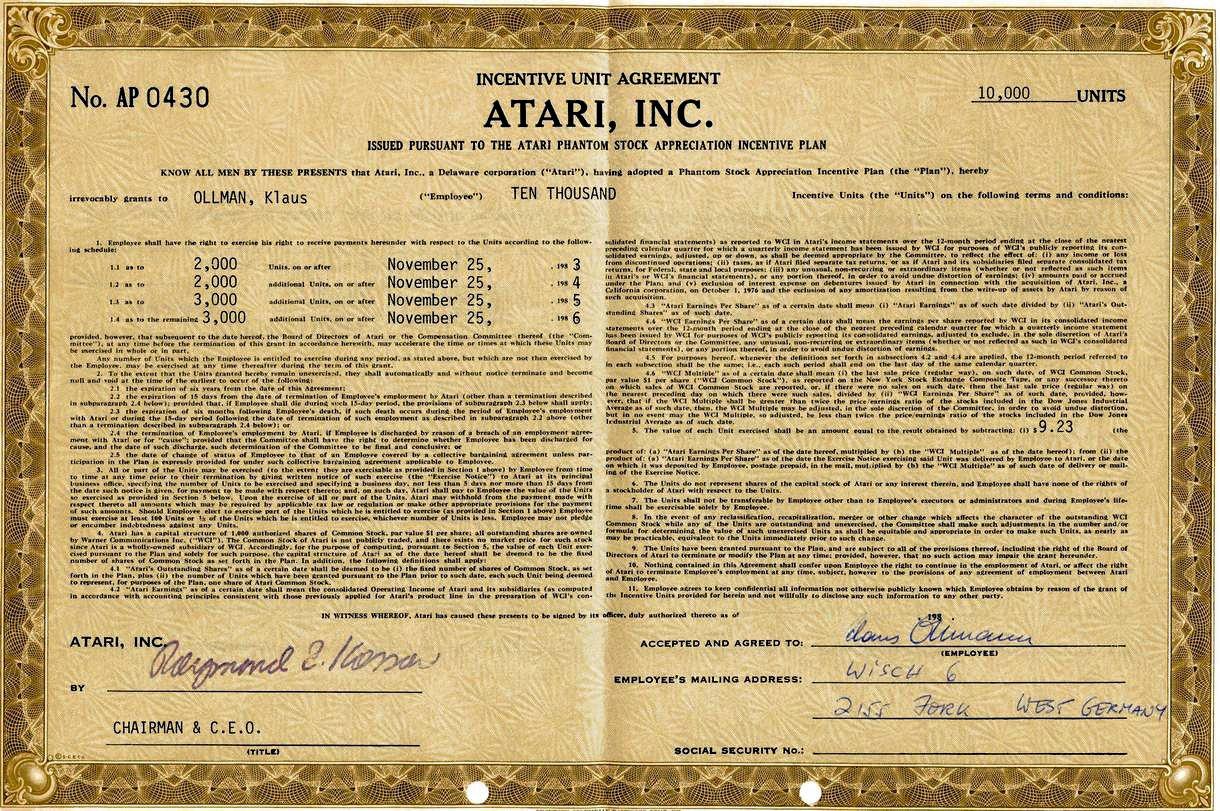 Diese 10.000 Stück Atari Aktie für Herrn Klaus Olmann hatte mit dem Konsolencrash von 1984 leider dramatisch an Wert verloren. (Bild: Klaus Ollmann)