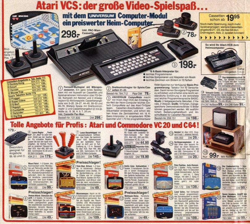 Atari Produkte in einem deutschen Quelle-Katalog von 1984/1985. Das Spiel Donkey Kong kostete damals 139,00 DM. (Bild: Quelle)