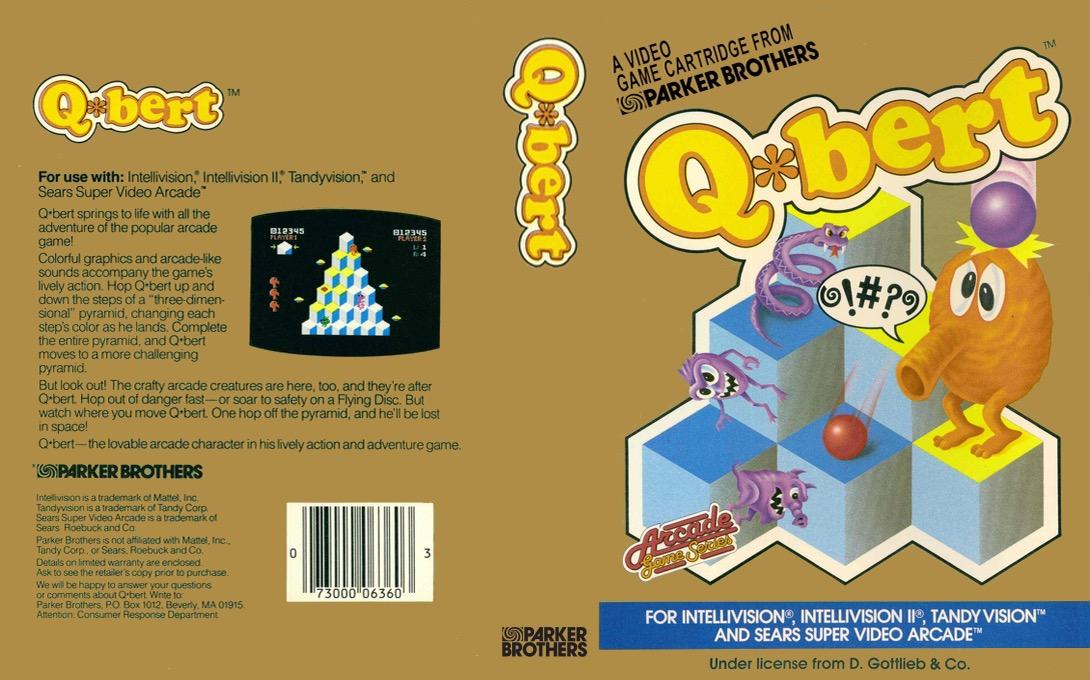 Wenn sich unter dem Geschenkpapier eine goldfarbene Schachtel offenbarte, dann war eine Automatenumsetzung von Parker Bros. für das Mattel Intellivision nimmer fern. Atari VCS Titel hatten eine silberne Schachtel, Coleco Module von Parker eine beigefarbene Packung. (Foto: MobyGames)