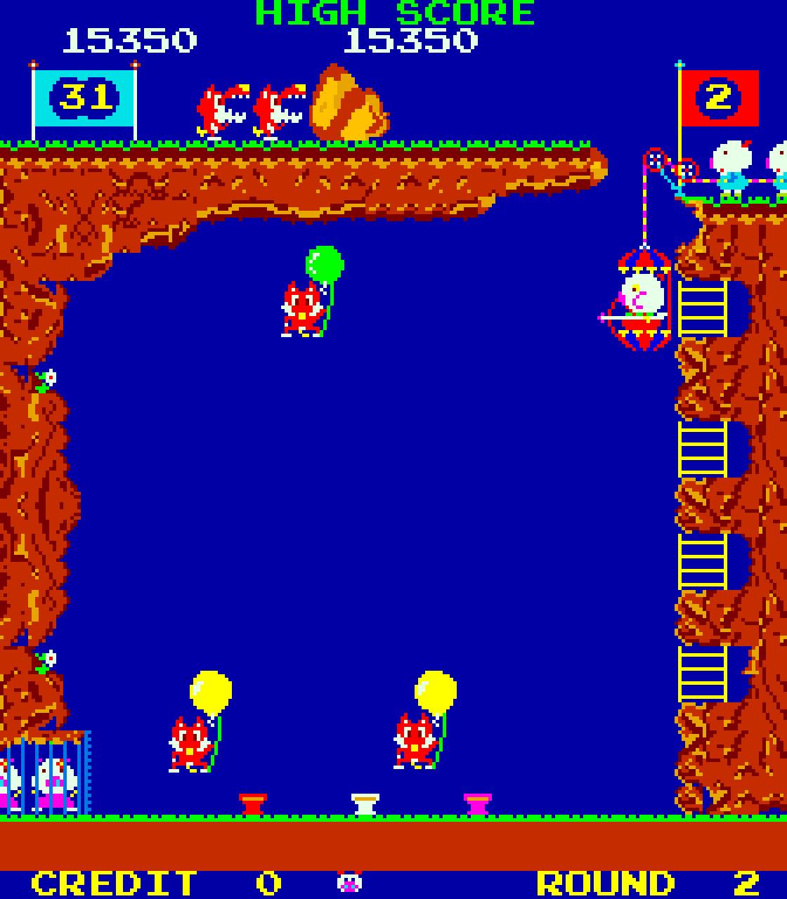 Pooyan ist ein unterschätzer Riesenspaß! Mit Pfeil und Bogen müssen die Ballons der Füchse getroffen werden, um die eigenen kleinen Schweinchen zu beschützen. (Bild: Konami)