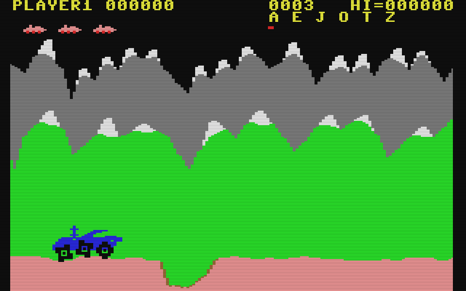 Der Spielhallenhit Moon Patrol für den Commodore 64. (Bild: Atarisoft)