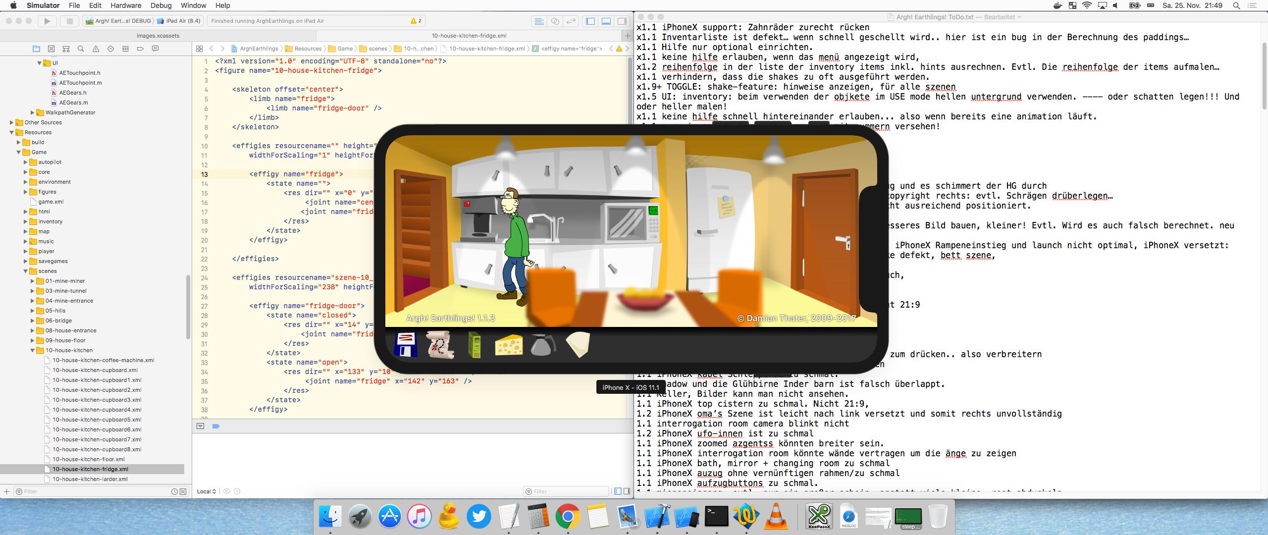 Die Entwicklung von Argh! Earthlings! spielt sich hauptsächlich in Xcode ab. Fehler und Features sind in einer ganz simplen Text Datei aufgeführt. (Bild: Damian Thater)