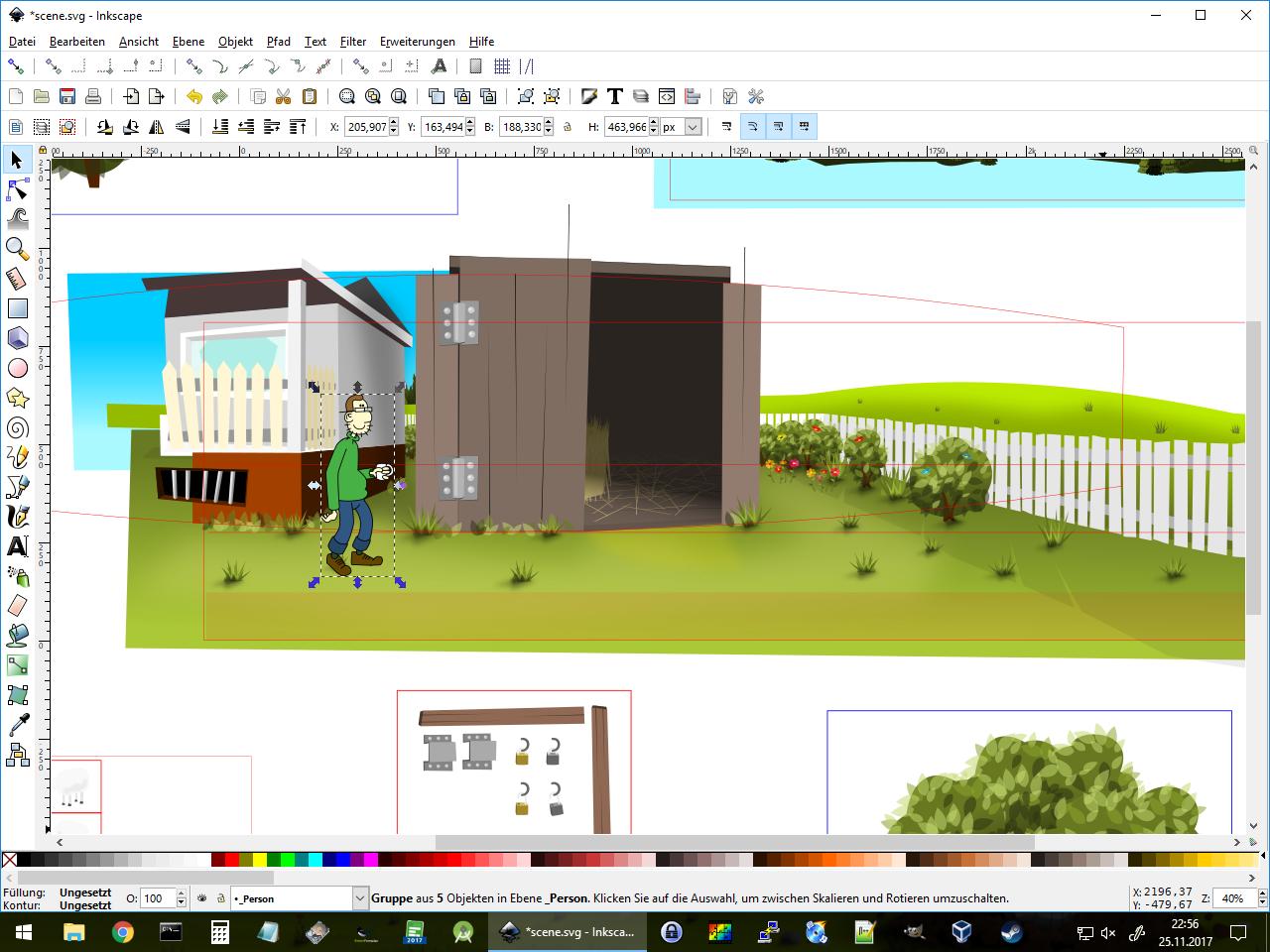 Die Grafiken sind mit Inkscape gezeichnet, was die Skalierung für alle erdenklichen Auflösungen erlaubt. (Bild: Damian Thater)