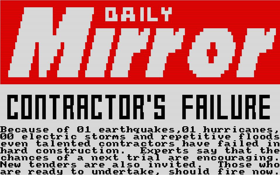 Diese Pressemeldung erschien, nachdem die ein oder andere Programmierer-Gemeinheit den Aufbau zunichte gemacht hatte. (Bild: Amsoft)
