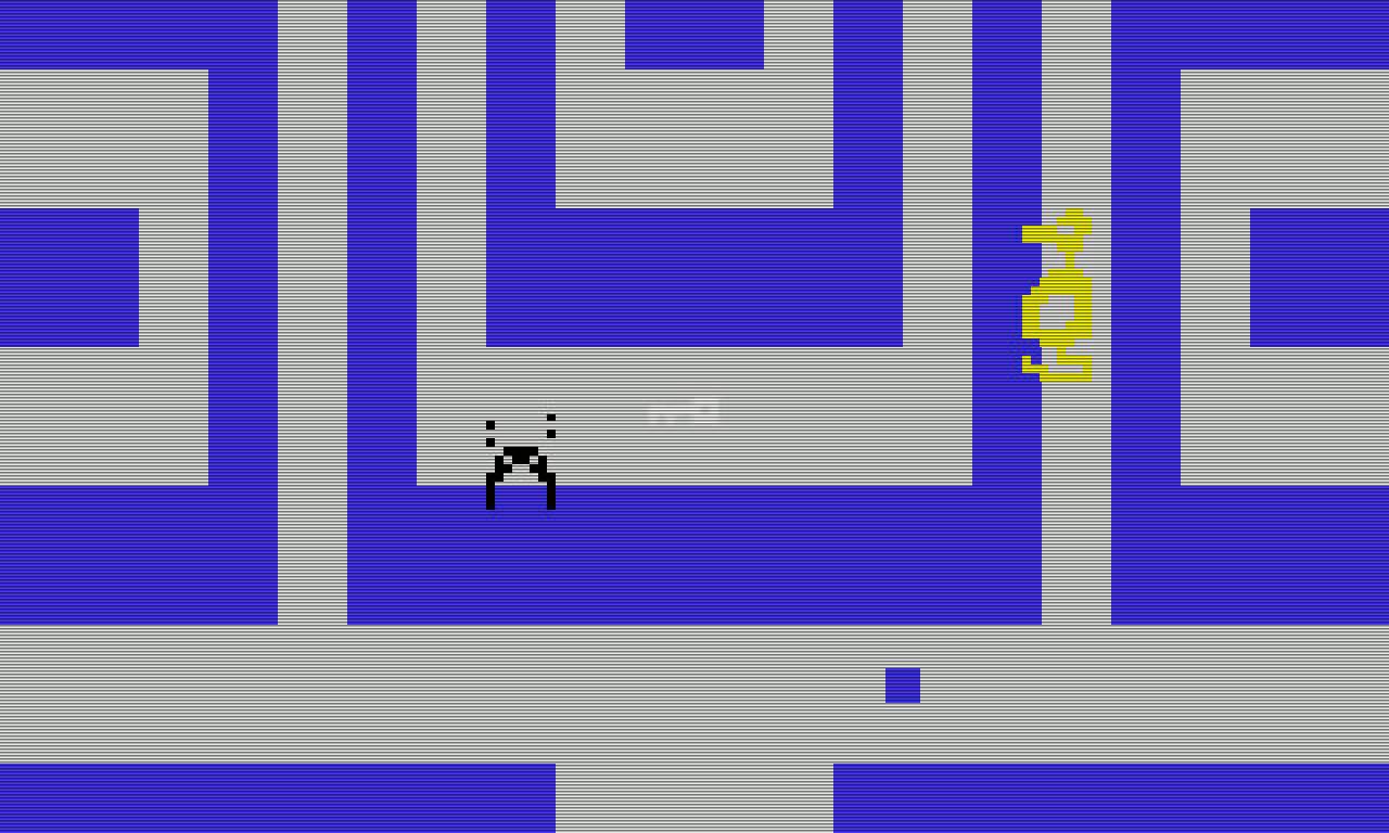 Adventure. Man beachte den Entendrachen. Unten rechts der Held in blau. (Bild: Atari)