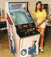 Werbung für den Videospielautomaten Fonz von Sega. (Arkaden, 1976)