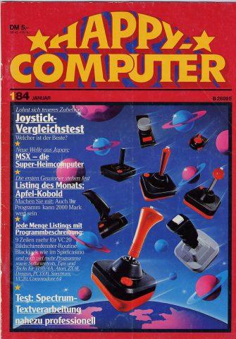 Die Titelseite der Happy Computer vom Januar 1984. (Bild: Markt & Technik)