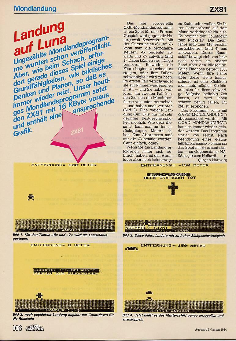 Landung auf Luna für den ZX81. (Bild: Markt & Technik)