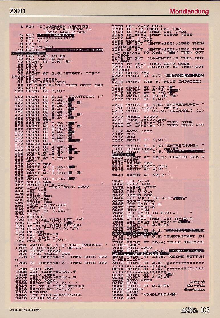 Listing zu Landung auf Luna für den ZX81. (Bild: Markt & Technik)
