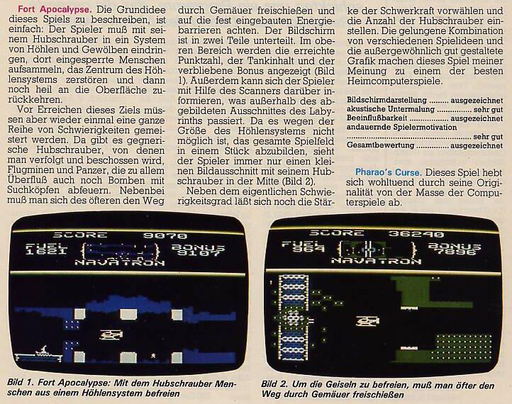 Spielprofil zu Fort Apocalypse von Synapse-Software für den Commodore 64. (Bild: Markt & Technik)