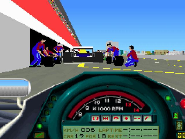 Grand Prix - Beschleunigen aus der Box heraus. Der Rennkollege vor uns wird derweil noch von Servicepersonal versorgt. (Geoff Crammond für MicroProse, PC, 1991)