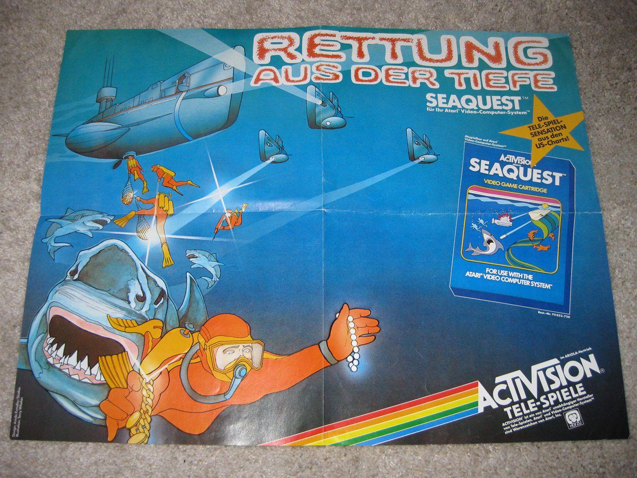 Ein Seaquest-Poster, mit dem Activision das Spiel damals beworben hatte. (Bild: Michael Braun)