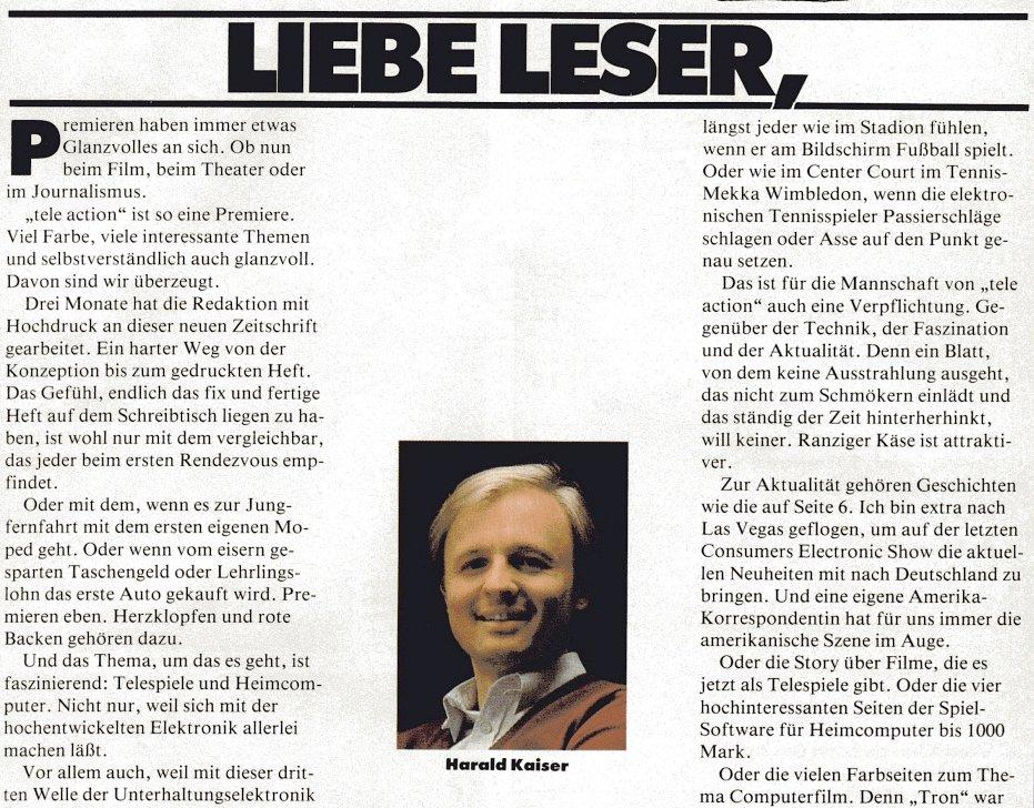 Die tele action will die Asse auf den Punkt genau setzen. In der Erstausgabe der Zeitschrift begrüßt der Chefredakteur Harald Kaiser seine neue Leserschaft. (Bild: Ehapa-Verlag)