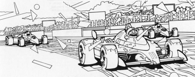 Bei Dodge 'Em wird noch viel Fantasie benötigt, um sich mit dem echten Rennzirkus identifizieren zu können. (Artwork zu Pole Position, 1982)