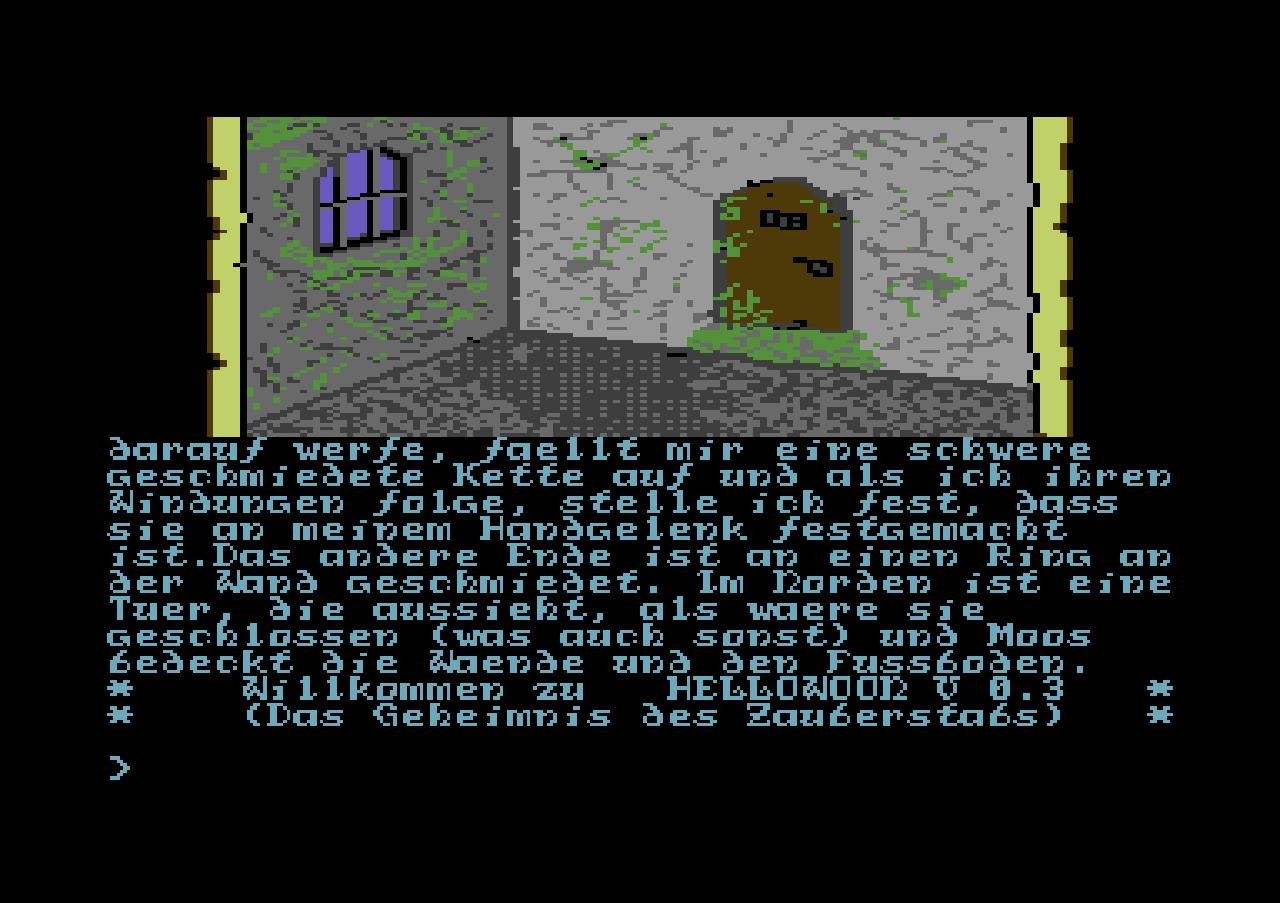 Hellowoon: Das Geheimnis des Zauberstabs, Screenshot vom Commdore 64. (Bild: Dragonware / Ariolasoft)
