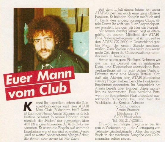 Ein Auszug aus dem offiziellen Atari Club Magazin vom März 1983. (Bild: Atari)