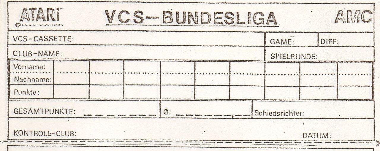 Kontrollzettel der VCS Bundesliga zur Erfassung der Spielergebnisse. (Bild: Atari)