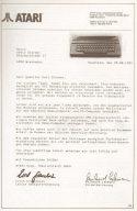 Brief von Atari an Armin Stürmer aus 1985. (Bild: Atari)
