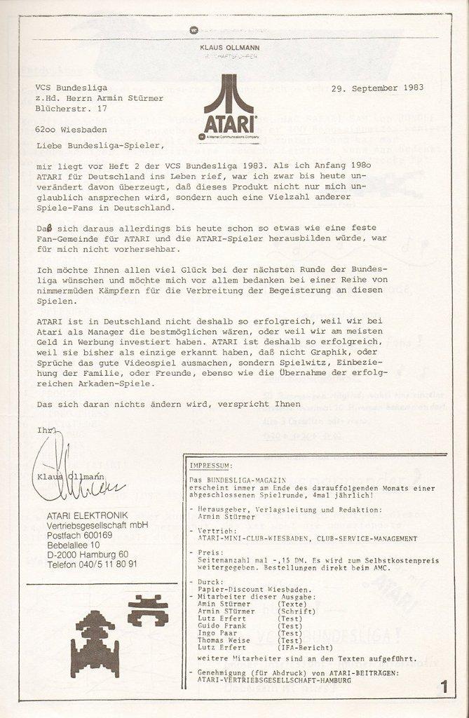 Auch der Atari Manager Klaus Ollmann sendet im Herbst 1983 ein Statement an die VCS Bundesliga von Armin Stürmer. (Bild: Atari)