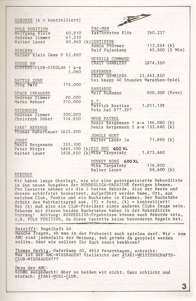 Die Rekordliste eines Bundesliga-Magazins. (Bild: Atari)