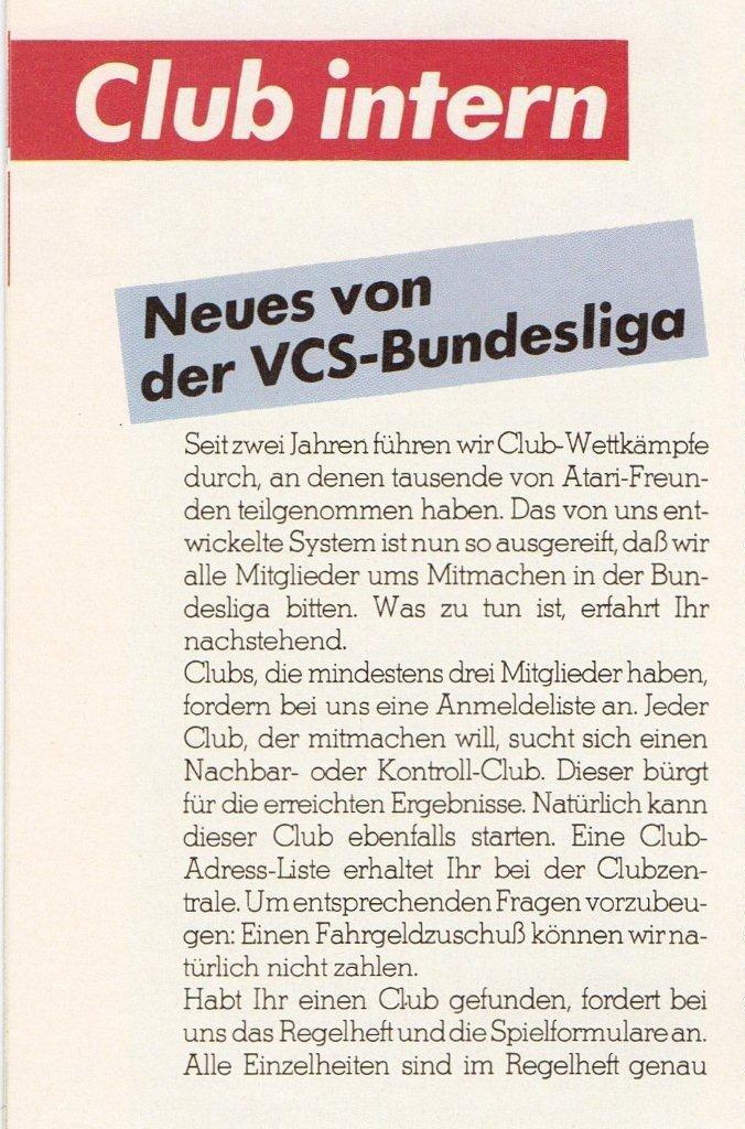 Information im offiziellen Atari Club Magazin zur neuen Bundesliga Saison 1984. (Bild: Atari)