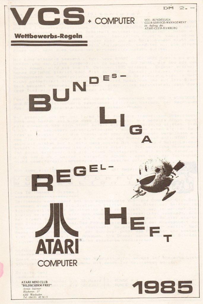 Das Bundesliga Regelheft von 1985. Noch ist das Wort Computer klein geschrieben. (Bild: Atari)