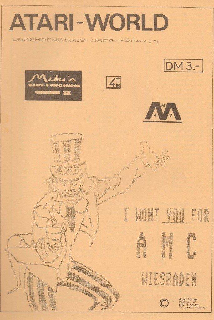 Das AMC User-Magazin Atari World von Armin Stürmer. Ebenfalls von 1985. (Bild: Atari)
