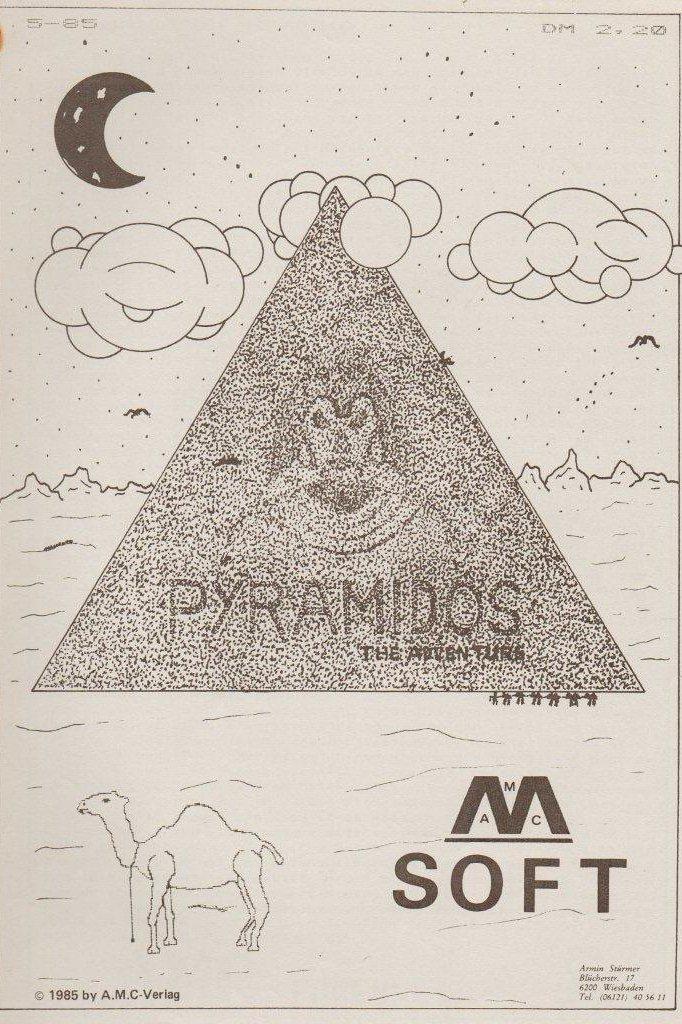 Das Atari Homecomputer-Spiel Pyramidos erschien auch auf der sogenannten AMC-Soft-Diskette des AMC Magazins, einem der ersten Diskettenmagazine seinerzeit. (Bild: Atari)