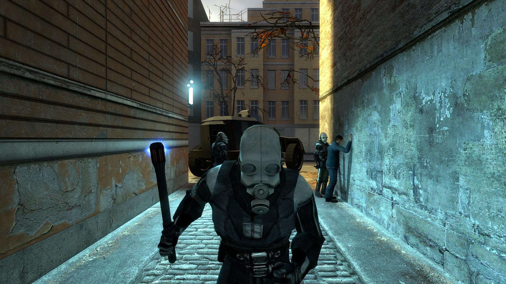 Unterdrückung und Terror. Die Combine kontrollieren jede Gasse von City 17. (Bild: Andre Eymann)