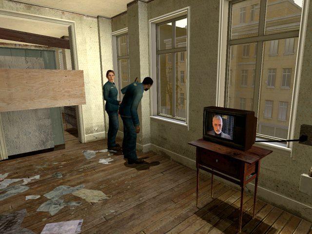 Ein verängstigter Blick aus dem Fenster. Die dystopische Welt von Half-Life 2. (Bild: Andre Eymann)