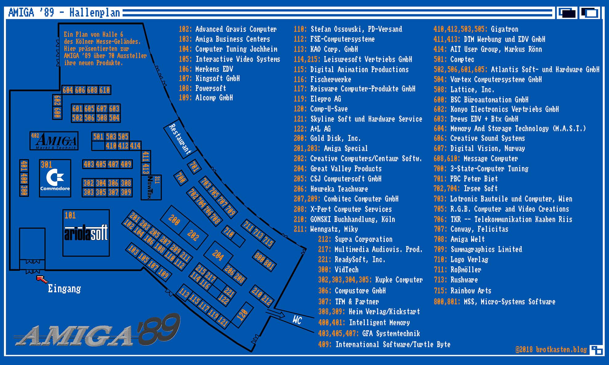 AMIGA'89 Hallenplan und Ausstellerverzeichnis (Bild: Stephan Ricken)