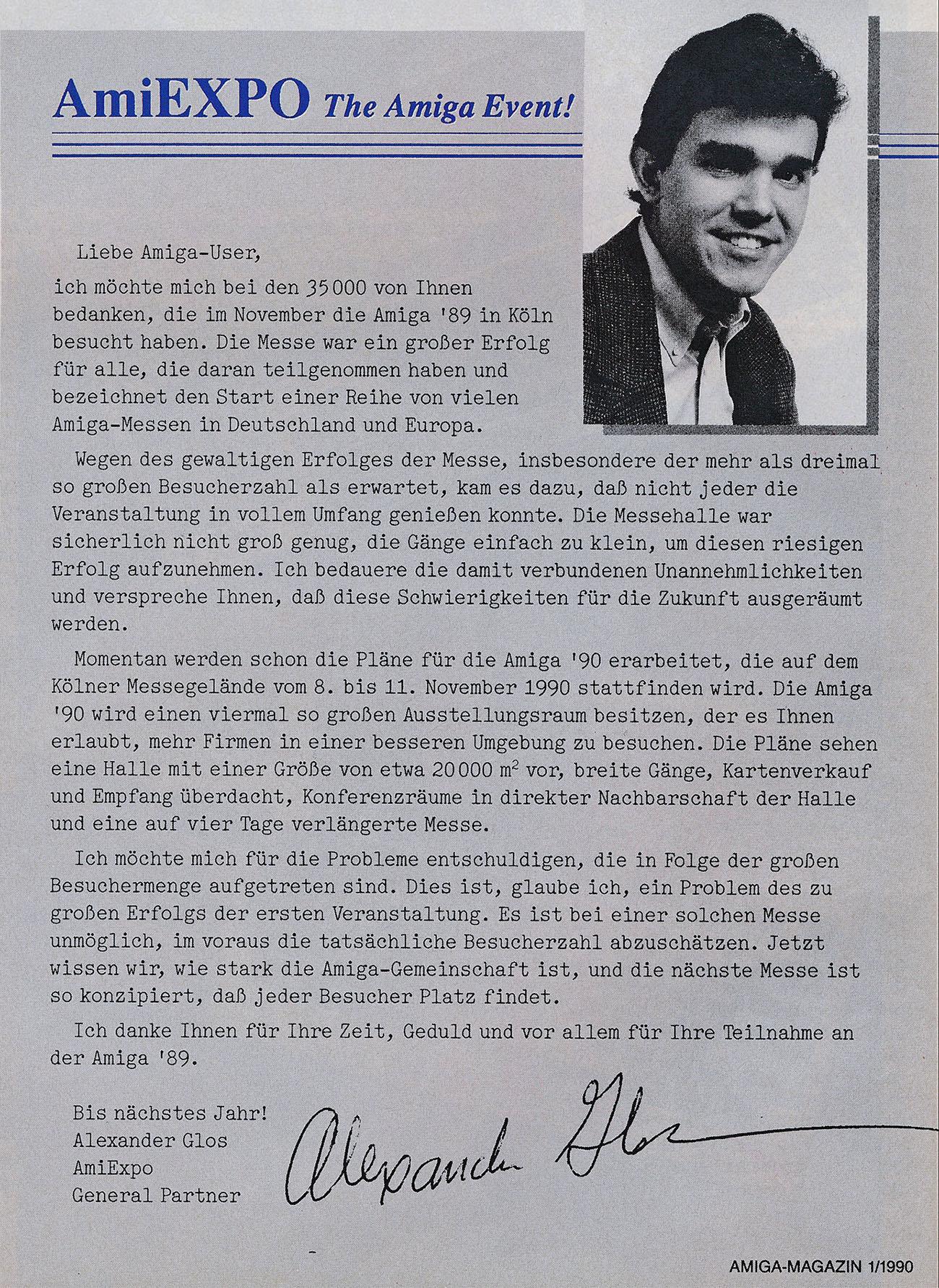 Offener Brief von Alexander Glos, AmiExpo (Bild: AmiExpo, Markt & Technik Verlag)