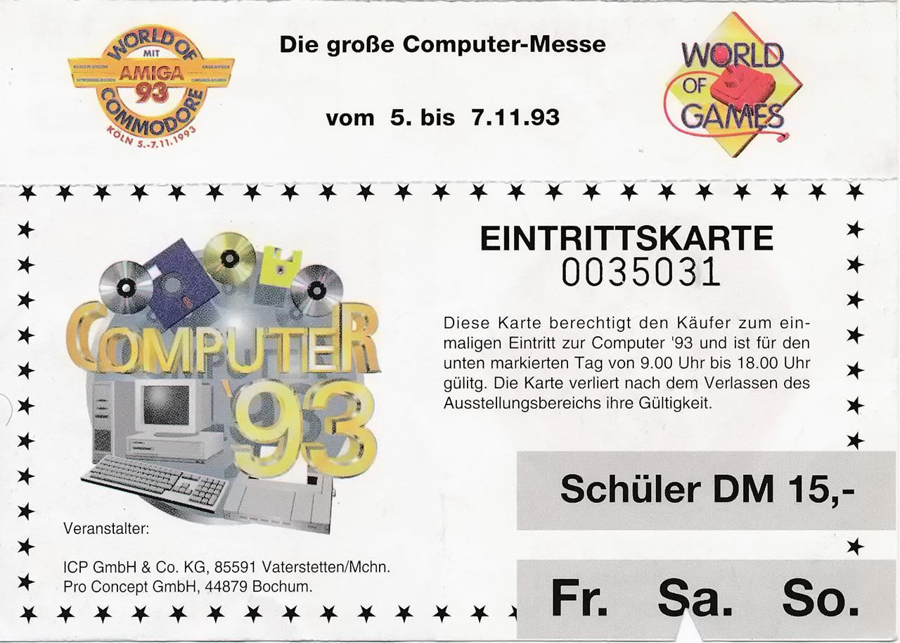 Eintrittskarte Computer'93 (Bild: Stephan Ricken)