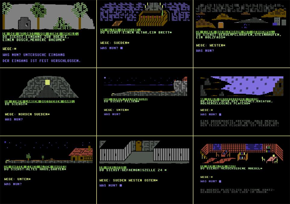 """Screenshot-Serie aus dem Titel """"Die Höhle"""", dem ersten Grafik-Text Adventure von Eway 10. (Bild: Eway 10)"""