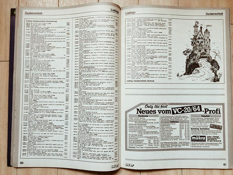 """64er Listing """"ZAUBERSCHLOSS"""" (1985). (Bild: Stefan Vogt)"""